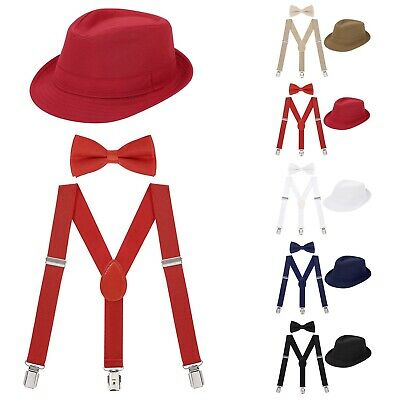 Cute Boys Formal Fedora Bow Tie & Suspenders Bundle Set Toddler Kid Wedding Hat