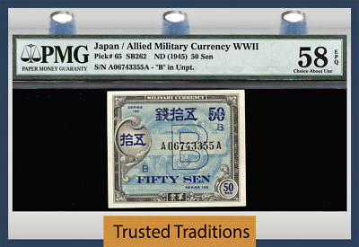 Tt Pk 65 Nd(1945) Japan/allied Military Currency Wwii 50 Sen Pmg 58 Epq Choice!
