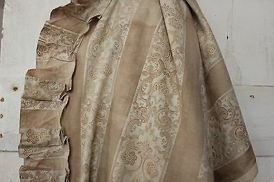 Antique French 19th century classic floral stripe neutral c 1870 curtain fabric