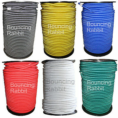ELASTIC BUNGEE ROPE SHOCK CORD TIE DOWN, SIX COLOURS, 6mm, 8mm, 10mm, 12mm thick