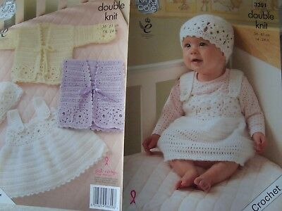 King Cole 3251 Baby's Pinafore, Cardigan & Hat DK Crochet Pattern Sizes 14-24""