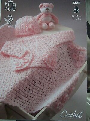 King Cole 3258 Baby's Blanket, Bolero & Hat DK Crochet Pattern Sizes 14-22""