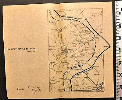 """World War 1 MAP """"THE FIRST BATTLE OF YPRES"""" Belgium WW1 Antique WWI Rare"""