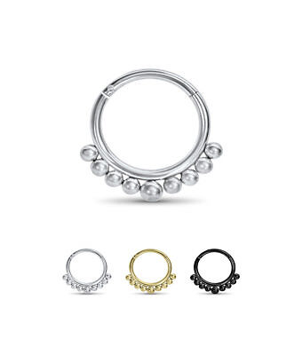 "316L Surgical Steel Hinged Septum Clicker 3/8"" Beaded 16G"