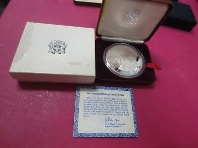 1978 Jamaica $25 Sterling Silver Proof 25th Anniversary Coronation H.M. Queen El