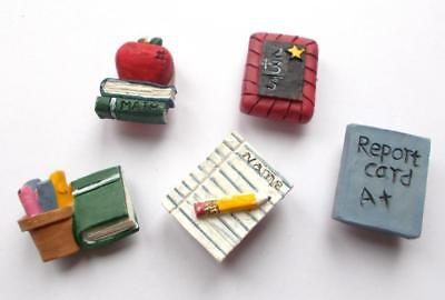Vintage 70's Set Of 5 Hand Painted Teacher School Resin Button Cover Brooches