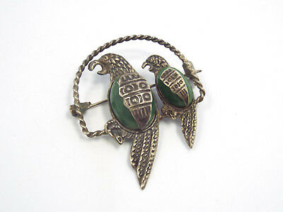 Vintage Mexico Sterling Silver & Green Stone Parrot Birds in Cage Brooch Pin