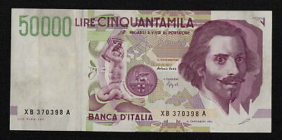 ITALY (P116br) 50,000 Lire D.1992(1992) VF/VF+ Replacement note!