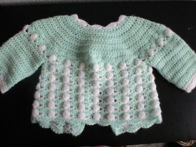 Sweet Green White Crocheted Baby Sweater 0 - 3 mo.  Ribbon Tie Boy or Girl