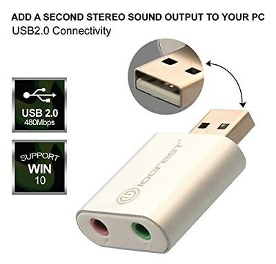 USB to Audio Adapter convert PC USB port into stereo sound output Windows & Mac