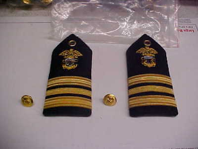 NEW USN Navy Sea Cadet LCDR Female Dress White Shoulder Bars 1pr loc#w105