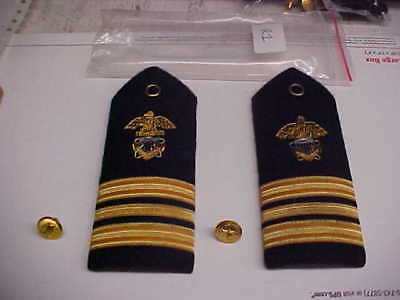 NEW USN Navy Sea Cadet Officer LCDR Male Dress White Shoulder Bars 1pr loc#w109