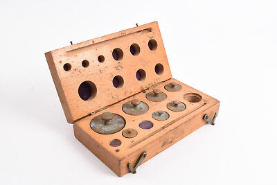 Antique Brass Balance Scale Weights Will Corporation in Original Wood Case V72