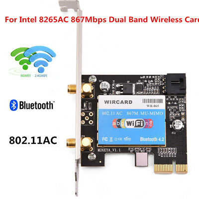 For Intel 8265ac Bluetooth4.2 Dual Band WiFi PCI-E Wireless Card Adapter 867M EM