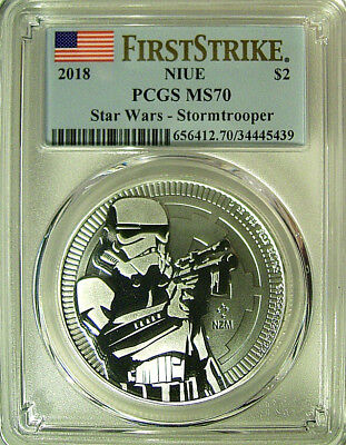 2018 Niue $2 STAR WARS - STORMTROOPER 1 Oz Silver Coin  PCGS MS 70 FS  POP 77