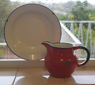 Shabby Vintage ENAMEL WARE Red Milk JUG & White & Blue Trim Plate KITCHENALIA