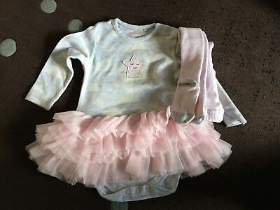 Next Baby Girls Pink Grey Bodysuit Tutu & Tights 6-9 Beautiful!!!!!