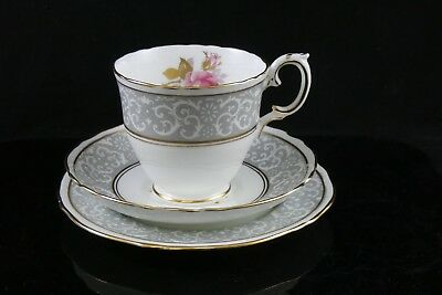 Vintage Crown Staffordshire Roses Floral Trio Cup Saucer Side Plate