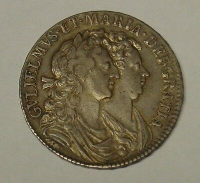 ENGLAND. William & Mary. 1689 silver Half Crown. S 3435. VF.
