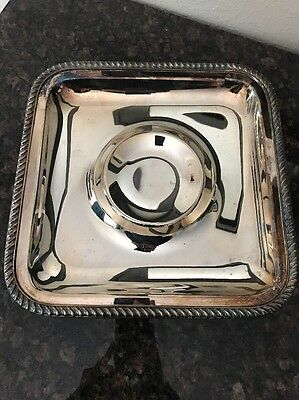 Vintage Square EPCA SilverPlate by Poole Footed Serving Dip Relish Tray 1044