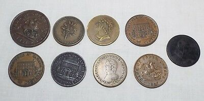 9 Assorted Old EARLY 1800s CANADIAN TOKENS Bank Montreal Wellington Agriculture