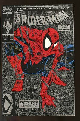 Spider-Man #1 Near Mint Black Cover 1990 Signed By Todd Mcfarlane