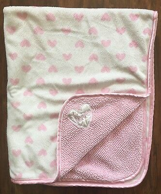Carters Child Of Mine Baby Blanket Pink Sherpa Hearts Love Satin