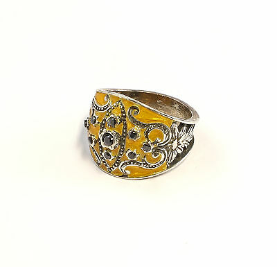Silver 925 enamelled Ring with Onyx Big 58 floral design yellow a1-01412