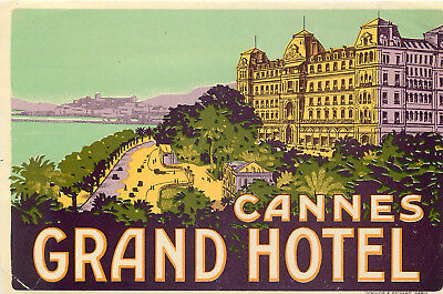 Cannes France Grand Hotel Amazing Old Art Deco Luggage Label