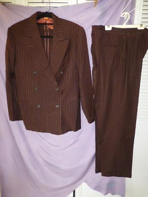 Vtg 40's Mens Rockabilly gangster chalk stripe Double Breasted Suit Town Clad