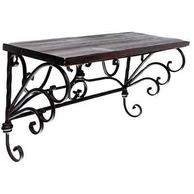 Antique Style Brown Iron & Wood Wall Shelf Scroll Detail Shabby Chic Decor