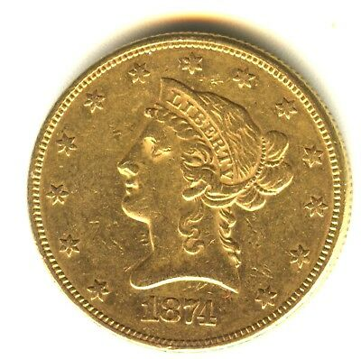1874 $10 Liberty Gold 100%Original AU++Type Coin No Cleaning Early Gold Coin