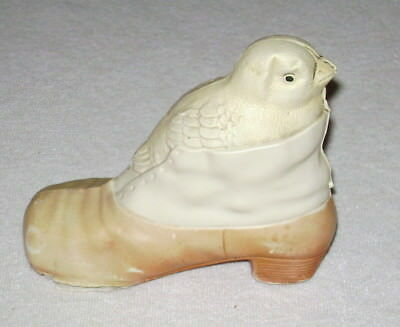 Antique Easter Ornament Celluloid Baby Chick in Boot Figurine