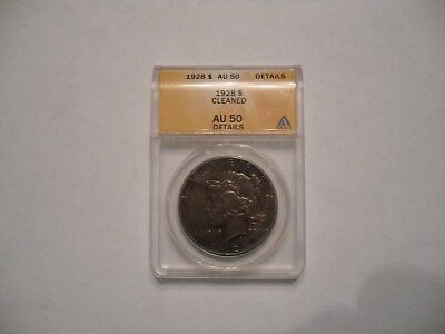 1928 $1 Peace Silver Dollar ANACS AU50 Details cleaned