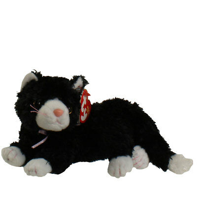 TY Beanie Baby - BOOTIES the Black & White Cat (8 inch) - MWMTs Stuffed Animal