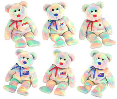 TY Beanie Babies - ASIA PACIFIC 2003 Exclusive Bears (Set of 6) (8.5 inch) MWMTs