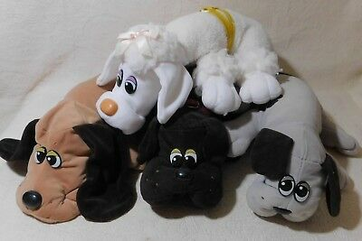 "Lot of 4 vintage 1980's 17"" Pound Puppies Tonka Poodle, Tan, Black, Grey puppy"