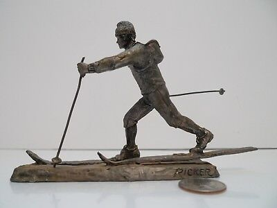 "Rare Michael Ricker Pewter Sculpture Cross Country Skier Ski Skiing 6 1/4"" X 4"""