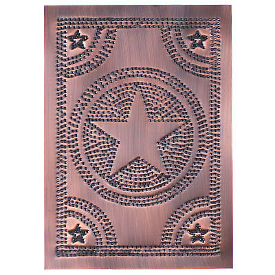 Country new handcrafted Solid copper punched STAR cabinet panel / 10 x 14
