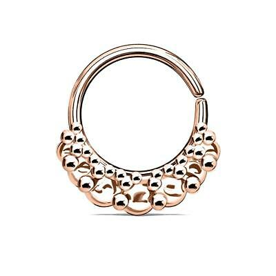 43d8b9bff Rose Gold Ion Plated Vintage Fan Bendable Nose Septum / Ear Cartilage Hoop