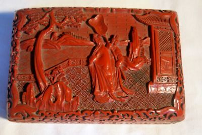 19th century chinese red laquer / cinnabar laquered box