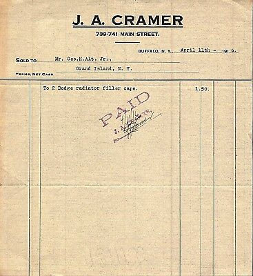 Vintage 1916 Dodge Brothers Auto Part Letterhead J A Cramer Buffalo, New York
