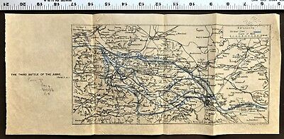 "World War 1 MAP  ""THE THIRD BATTLE OF THE AISNE"" River WW1 Antique WWI Rare"