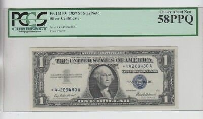 Silver Certificate $1 1957 STAR  PCGS Graded Choice about new 58PPQ