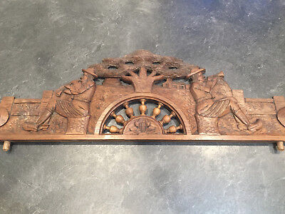 Antique French Carved Wood Architectural  Pediment From Brittany IV