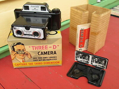 Vintage Coronet Stereo Camera COMPLETE with Graphic Box and Viewer & Sample View