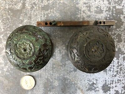 Vintage set of ornate fancy Victorian cast brass door knobs escutcheons RHCo old
