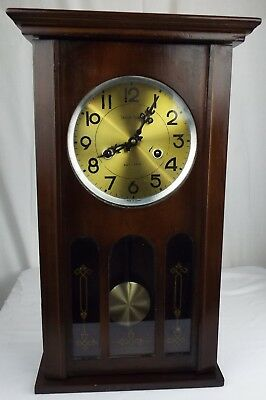 Vintage Mantel Chime Clock Key Wind Not Working For Parts or Restoration