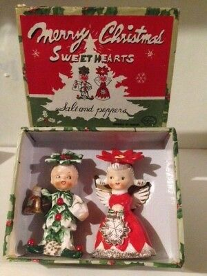 Vintage 1958 Napco Merry Christmas Sweet Hearts S&P Shakers Figurines