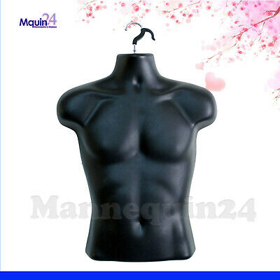 Male Torso Mannequin - Black Men Haning Dress Body Forms Hollow Back w/ Hook